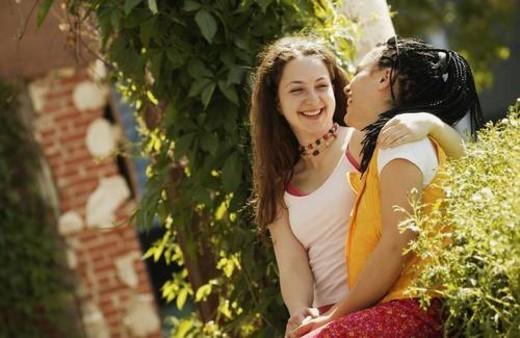 Two teenage girls : Stock Photo