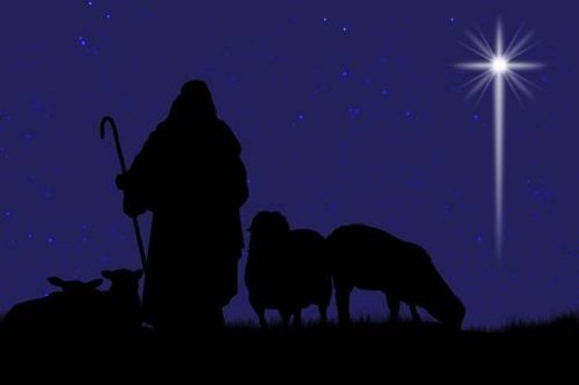 Silhouette of shepherd and sheep with a bright star in the sky : Stock Photo