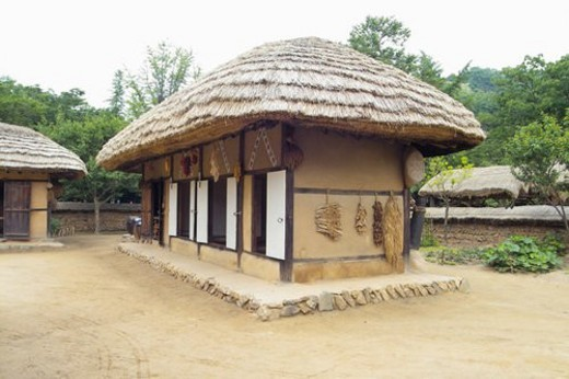 Stock Photo: 4029R-270948 nature, world ancient architecture, thatched house, korea architecture, asia architecture, house