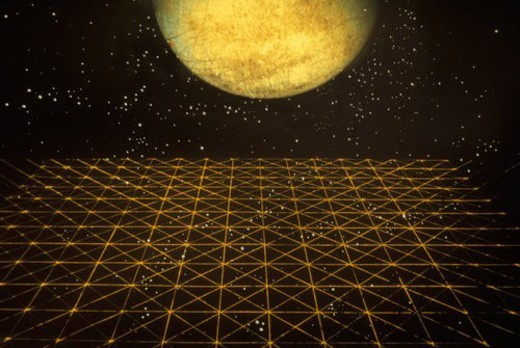 A glowing orange crystal sphere against a starry background rising over a colored grid extending to the horizon : Stock Photo