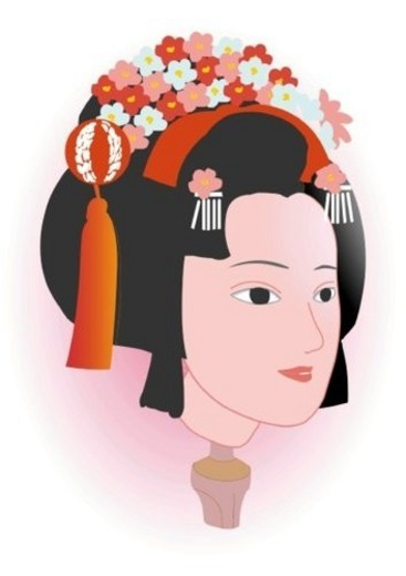 Stock Photo: 4029R-272238 Head of female figurine of puppet theater, side view, Japan