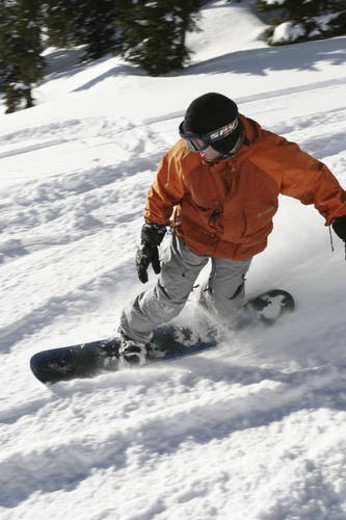 Stock Photo: 4029R-27390 Back country skiing and snowboarding during cat ski and heli ski trips in the Whistler, British Columbia area.
