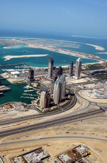 Stock Photo: 4029R-275203 dubai, aerial, dubai, marina, port, plaisance, towers