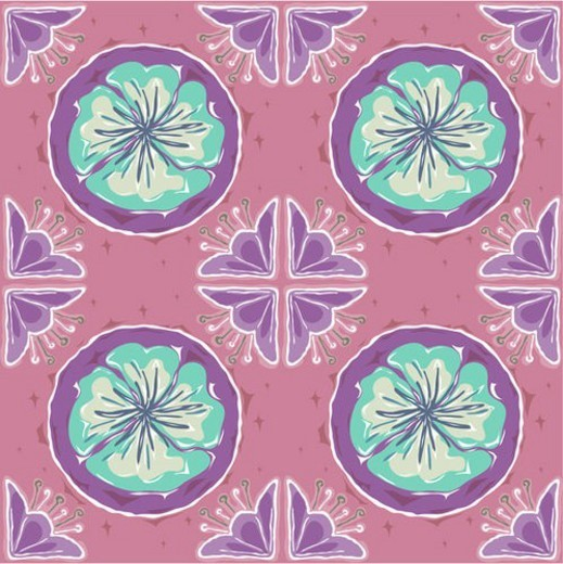 floral pattern, pattern, indoors, wallpaper, background, flower, design : Stock Photo