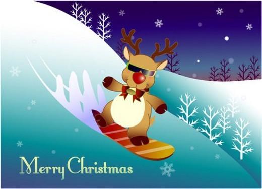 Stock Photo: 4029R-278647 rudolf, winter, reindeer, deer, snow, snowboarder, christmas