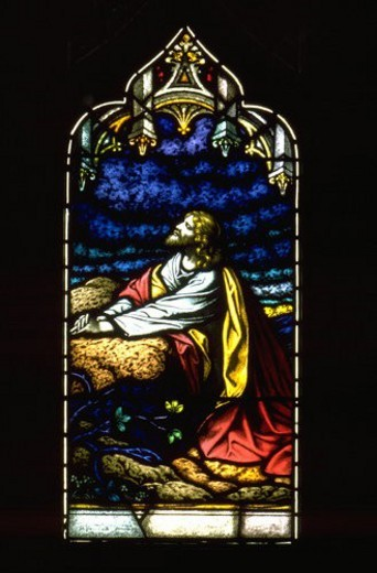 Stained glass window of Jesus praying in the Garden of Gethsemane : Stock Photo