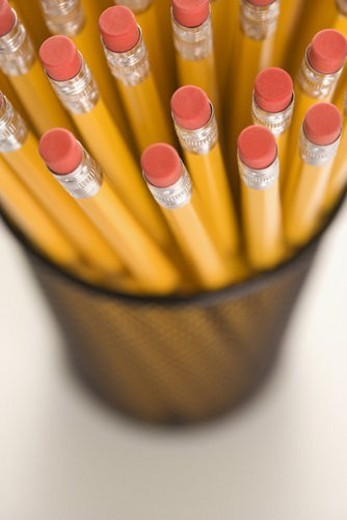 Group of pencils in pencil holder. : Stock Photo