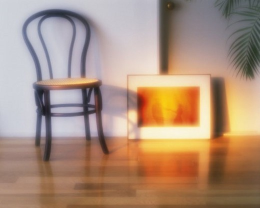 Chair and picture on the floor, High Angle View, Soft Focus : Stock Photo