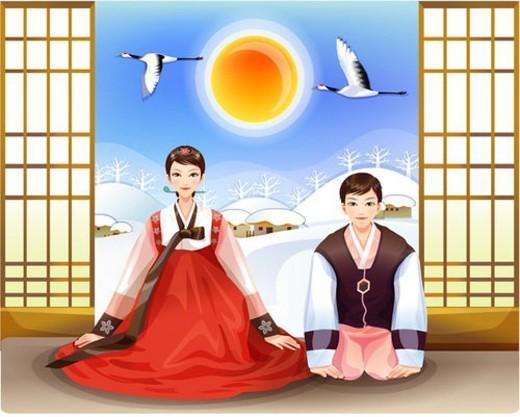 Stock Photo: 4029R-280794 couple, korean, cultural, traditional, korean dress, asian