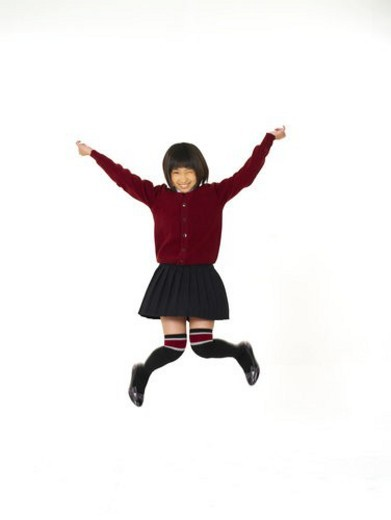 School Uniform, Elementary school student, Jump, Asian, Asians, School Uniforms, Elementary school students : Stock Photo