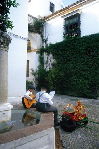 Spain, Andalucia, Andalusia, Cordoba, Street, Alley, Fountain : Stock Photo