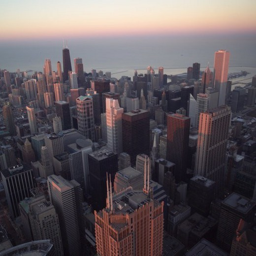 Stock Photo: 4029R-281945 High-rise buildings in Chicago