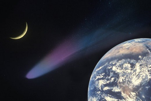 Space special effects composite with Earth, comet and crescent moon : Stock Photo