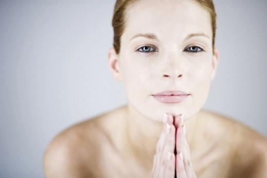 Stock Photo: 4029R-283694 A female nude, portrait