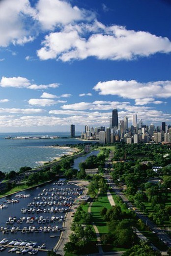 Stock Photo: 4029R-284116 Lincoln Park, Diversey Harbor, and Lake Michigan looking south toward the skyline