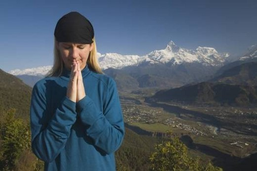 Stock Photo: 4029R-284952 A woman in prayer