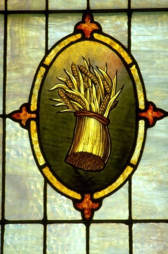 Sheaf of wheat on stained glass window : Stock Photo
