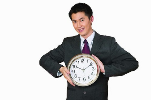 Stock Photo: 4029R-287998 Cheerful, Asian Ethnicity, Businessman, Clock, Seconds Hand, Toothy Smile