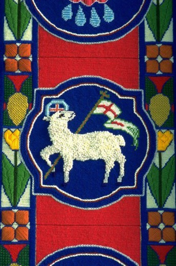 Lamb of God needle point tapestry at Olivet Church UCC. St Paul Minnesota USA : Stock Photo