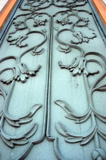 Stock Photo: 4029R-288992 pattern, bronze, gate, metal, bronzy, design, door