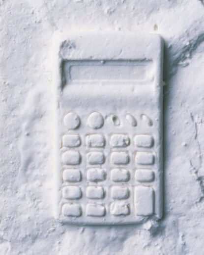 Stock Photo: 4029R-290463 Plaster Craft of Calculator, High Angle View
