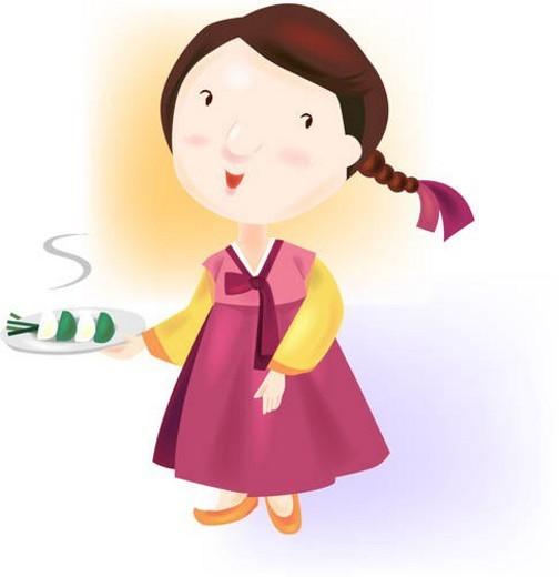 thanksgiving, custom, mother, hanbok, autumn, korean : Stock Photo