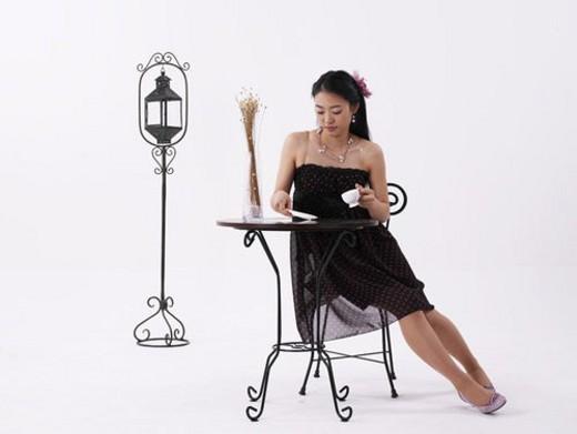 dress, asian, long hair, posed, posing, full length portrait : Stock Photo