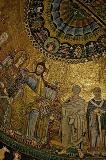 Apse mosaics, Santa Maria in Trastevere, Rome, Italy : Stock Photo