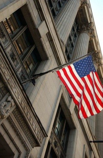 Flag of America outside County Building in Chicago : Stock Photo