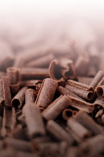 Close up of chocolate shavings, full frame : Stock Photo