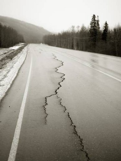 Road with cracks : Stock Photo