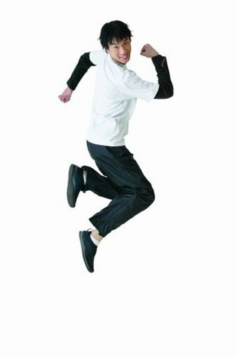 Stock Photo: 4029R-295943 Toothy Smile, Lifestyles, Cut Out, Cheerful, Mid-Air, 16-17 Years