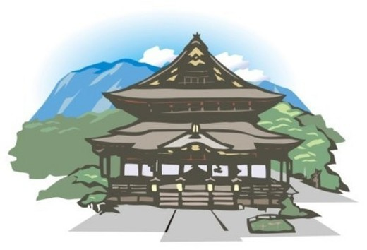 Zenkou Temple, Woodcut, Naogano Prefecture, Japan : Stock Photo