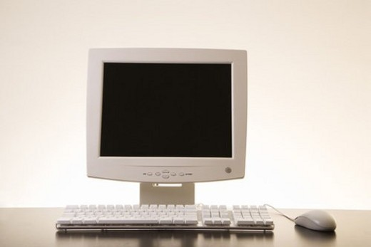 Stock Photo: 4029R-29674 Still life of computer monitor, keyboard and mouse.