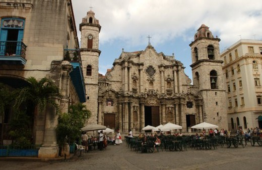Facade of an ancient church, Havana, Cuba : Stock Photo