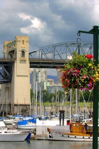 Hanging basket in harbour : Stock Photo