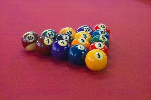 pocket billiards, game, ball, billiards, billiard ball, multicolored, sports : Stock Photo