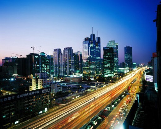 Stock Photo: 4029R-300565 Night scene of CBD, Beijing