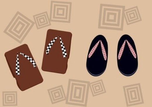 Japanese wooden Sandals, Painting, Illustration, Illustrative Technique : Stock Photo
