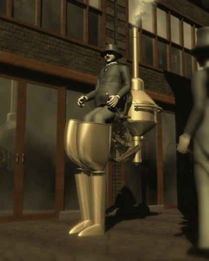 Stock Photo: 4029R-303702 Robot, Illustration, CG, 3D, Sepia, Low Angle View, Side View