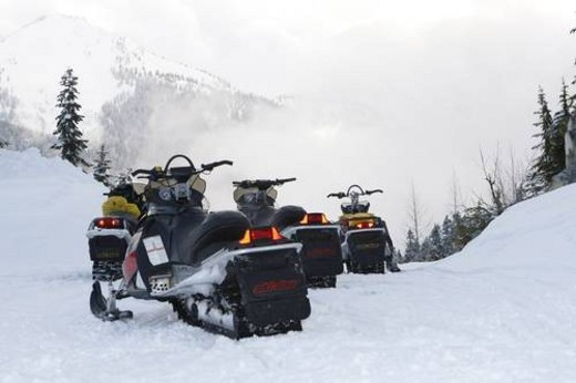 Stock Photo: 4029R-303883 snowmobile adventure tour in Whistler British Columbia