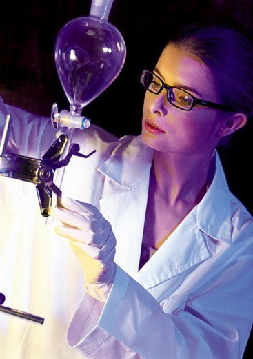 surgical gloves, technician, development, r & d, spectacles, woman : Stock Photo