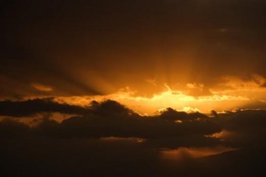 Stock Photo: 4029R-3048 Sunrise in Haleakala National Park in Maui, Hawaii.