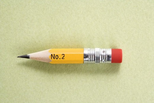 Still life of short worn down number 2 pencil. : Stock Photo