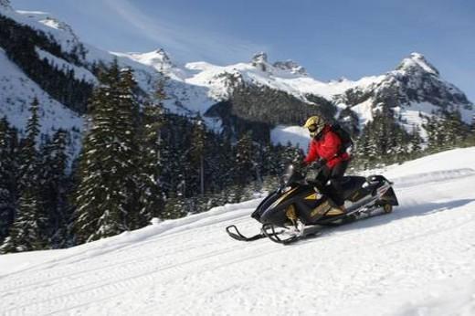 Stock Photo: 4029R-305748 snowmobile adventure tour in Whistler British Columbia