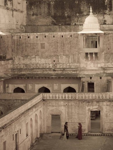 Stock Photo: 4029R-30592 Looking down into Amber Fort, Jaipur, India
