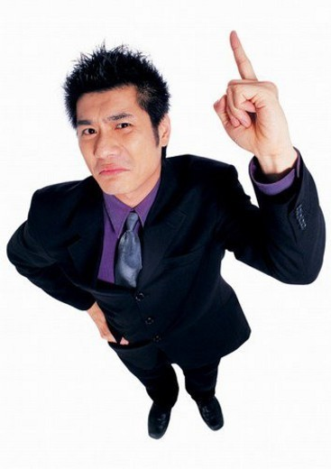 pointing, business attitudes asian, young man, man only, business attitudes, asian : Stock Photo