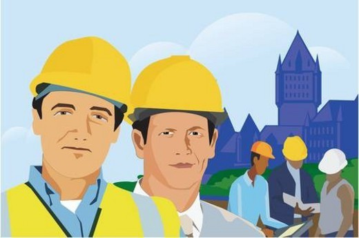 Stock Photo: 4029R-308148 Construction workers with architectural buildings in background