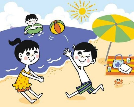 Stock Photo: 4029R-308405 Children playing at the beach, Painting, Illustration, Illustrative Technique, Side View