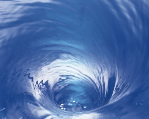 Swirl of Water, Close Up, High Angle View, Differential Focus, In Focus, Out Focus, : Stock Photo